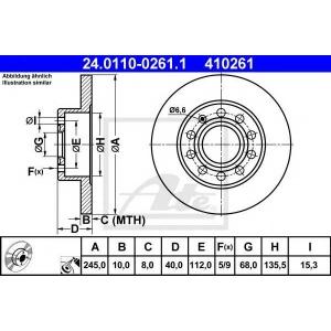 ATE 24.0110-0261.1 Тормозной диск Ауди 80