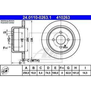 ATE 24.0110-0263.1 Тормозной диск Бмв 3