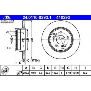 ATE 24.0110-0293.1 Тормозной диск Мерседес Сл