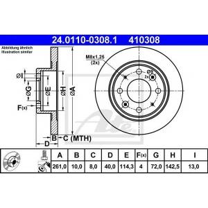 ATE 24.0110-0308.1 Тормозной диск Киа Кларус