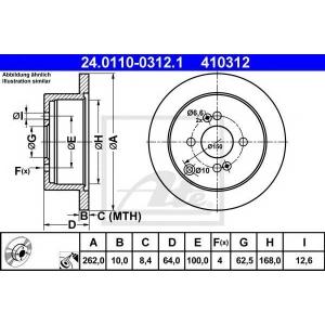 ATE 24.0110-0312.1 Тормозной диск Хюндай Гетз