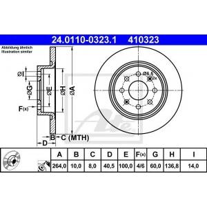 ATE 24.0110-0323.1 Тормозной диск Фиат Пунто Эво