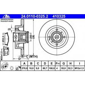 ATE 24.0110-0325.2 Тормозной диск Рено Сценик