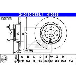 ATE 24.0110-0339.1 Тормозной диск Опель Зафира