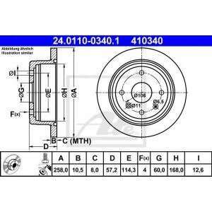 ATE 24.0110-0340.1 Тормозной диск Дэу Лацетти