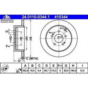 ATE 24.0110-0344.1 Тормозной диск Митсубиси Грандис