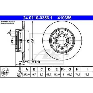 ATE 24.0110-0356.1 Тормозной диск Ауди А1