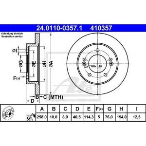 ATE 24.0110-0357.1 Тормозной диск Хюндай Айикс 20