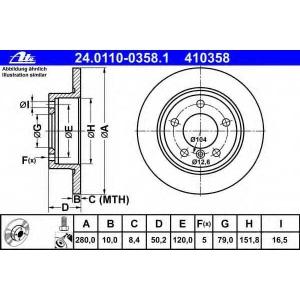ATE 24.0110-0358.1 Тормозной диск Мини