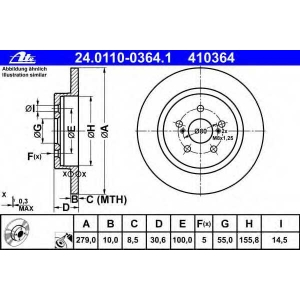 ATE 24.0110-0364.1 Тормозной диск Лексус Ст