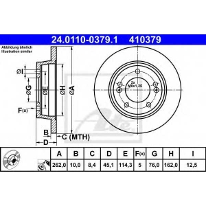 ATE 24.0110-0379.1 Тормозной диск Хюндай Ай 30