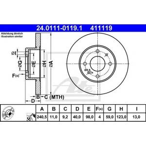 ATE 24.0111-0119.1 Тормозной диск Фиат Барчетта