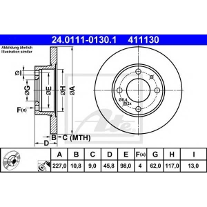 ATE 24.0111-0130.1 Тормозной диск Фиат Ритмо