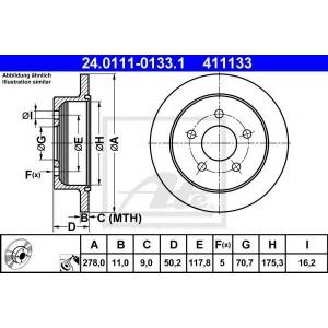 ATE 24.0111-0133.1 Тормозной диск Опель Синтра