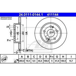 ATE 24.0111-0144.1 Тормозной диск Рено Сафране