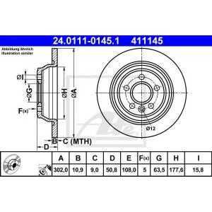 ATE 24.0111-0145.1 Тормозной диск Форд Куга
