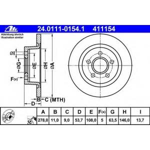 ATE 24.0111-0154.1 Тормозной диск Форд Транзит Коннект