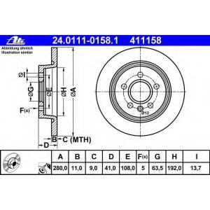 ATE 24.0111-0158.1 Тормозной диск Форд Фокус Ц-Макс