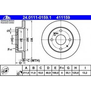 ATE 24.0111-0159.1 Тормозной диск Дайхатсу Тревис
