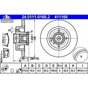 ATE 24.0111-0166.2 Тормозной диск Рено Сценик