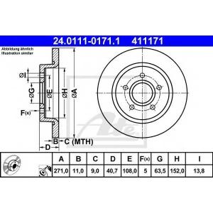 ATE 24.0111-0171.1 Тормозной диск Форд Фокус Турниер