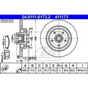 ATE 24.0111-0173.2 Тормозной диск Рено Латитуде