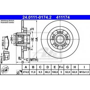 ATE 24.0111-0174.2 Тормозной диск Рено Кангу
