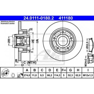 ATE 24.0111-0180.2 Тормозной диск Рено Флюенсе