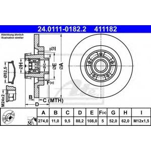 ATE 24.0111-0182.2 Тормозной диск Мерседес