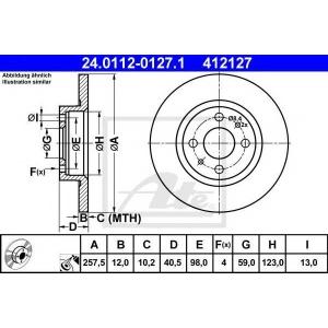 ATE 24.0112-0127.1 Тормозной диск Лансия