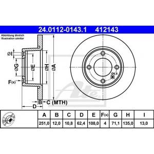 ATE 24.0112-0143.1 Тормозной диск Ситроен Ксантия Брейк
