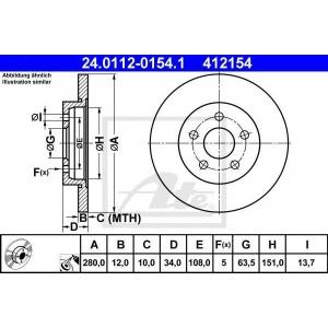 ATE 24.0112-0154.1 Тормозной диск Ягуар Икс Тайп
