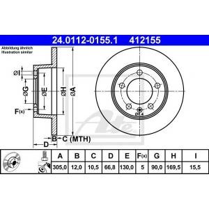 ATE 24.0112-0155.1 Тормозной диск Опель Мовано