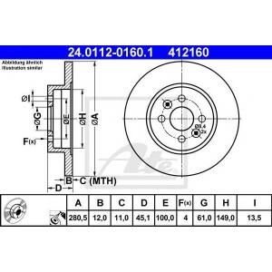 ATE 24.0112-0160.1 Тормозной диск Рено Кангу Экспресс