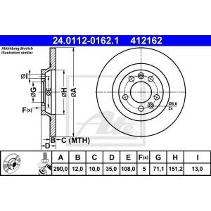 ATE 24.0112-0162.1 Тормозной диск Ситроен С5 Брейк