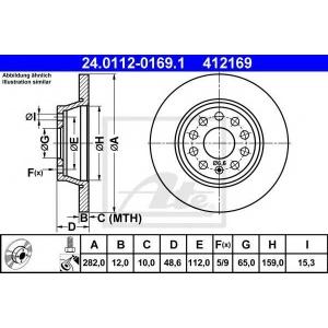 ATE 24.0112-0169.1 Тормозной диск Ауди Кью 3