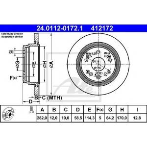 ATE 24.0112-0172.1 Тормозной диск Хонда Фрв