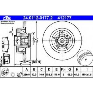 ATE 24.0112-0177.2 Тормозной диск Опель Виваро