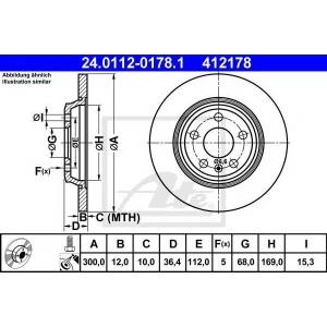ATE 24.0112-0178.1 Тормозной диск Ауди А5 Спортбэк