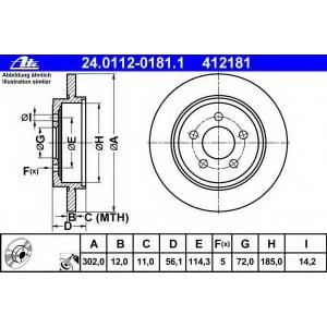 ATE 24.0112-0181.1 Тормозной диск Мазда Трибут