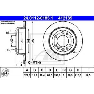 ATE 24.0112-0185.1 Тормозной диск Киа