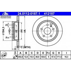 ATE 24.0112-0187.1 Тормозной диск Опель Инсигния