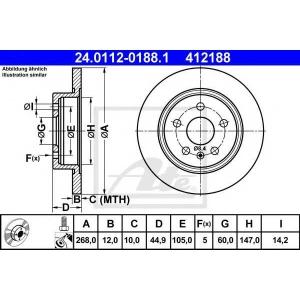 ATE 24.0112-0188.1 Тормозной диск Шевроле Круз