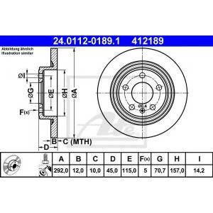 ATE 24.0112-0189.1 Тормозной диск Шевроле Круз