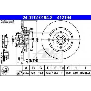 ATE 24.0112-0194.2 Тормозной диск Ситроен С4 Пикасо