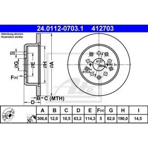 ATE 24.0112-0703.1 Тормозной диск Лексус Айс Спорткросс
