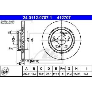 ATE 24.0112-0707.1 Тормозной диск Хонда С2000