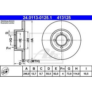 ATE 24.0113-0125.1 Тормозной диск Опель Аскона