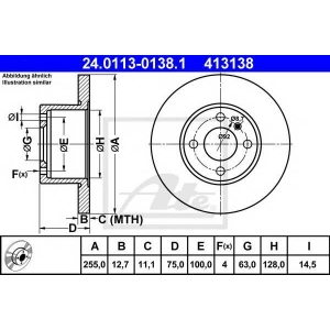 ATE 24.0113-0138.1 Тормозной диск Бмв 3