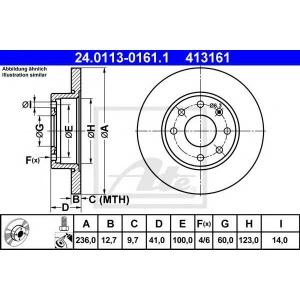 ATE 24.0113-0161.1 Тормозной диск Опель Корса